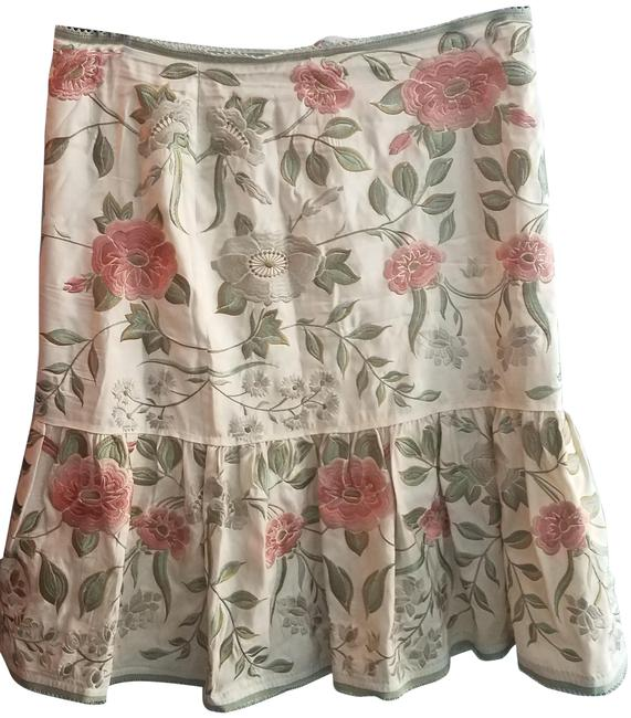 Austin Reed Cream Olive Coral Floral Skirt Size 12 L 32 33 Tradesy