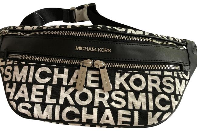 Item - Kenly Md Fanny Pack Black/White Canvas Cross Body Bag