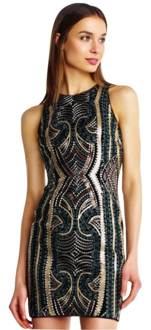 Item - Gold Multi Metallic Sequined Clubwear Short Cocktail Dress Size 4 (S)
