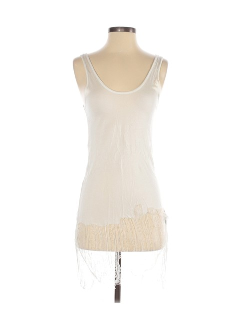 Item - Ivory Distressed Tunic Tissue Tank Top/Cami Size 4 (S)