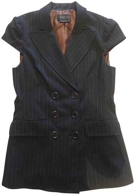 Item - Black 2pc. Pinstripe Double Breasted Wide Legged Pant Suit Size 6 (S)