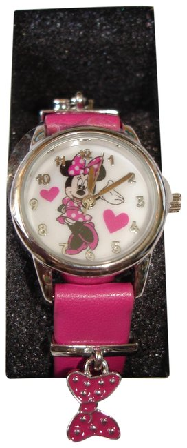 Item - Pink W Disney's Minnie Mouse Hearts Stainless Steel Wrist W/ Gift Watch