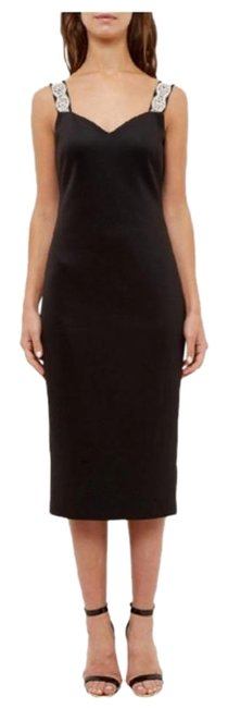 Item - Black Silver Mally Embellished Strap Bodycon Mid-length Formal Dress Size 4 (S)
