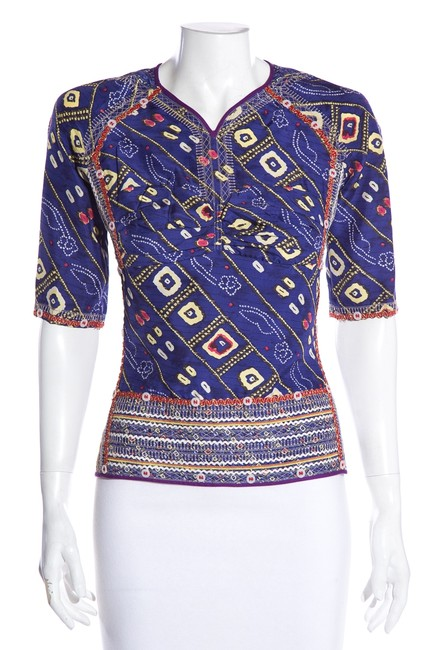 Item - Multicolor Short Sleeve Purple Beaded Blouse Size 4 (S)
