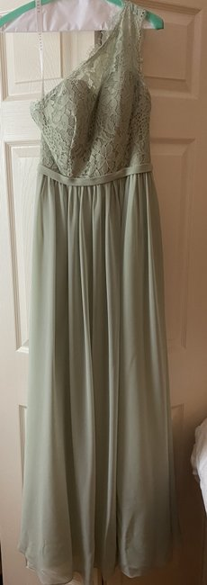 Item - Dusty Sage Chiffon with Lace Bodice Demi Formal Bridesmaid/Mob Dress Size 6 (S)