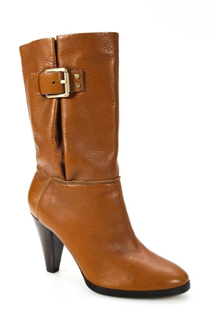Item - Brown Leather Mid-calf Heels Boots/Booties Size US 6.5 Regular (M, B)