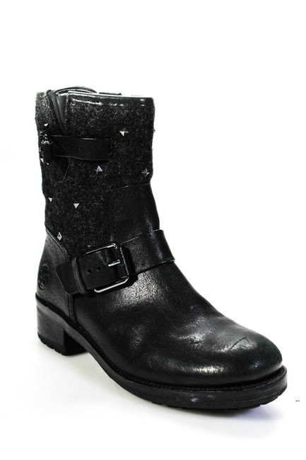 Item - Black Womens Leather Studded Biker Boots/Booties Size US 5.5 Regular (M, B)
