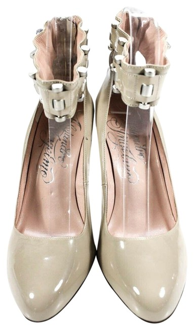 Item - Beige Womens Patent Leather Ankle Strap Pumps Size EU 37 (Approx. US 7) Regular (M, B)