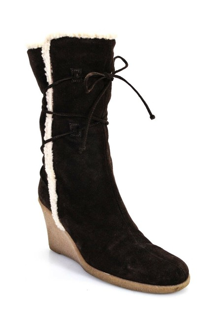 Item - Black Womens Suede Shearling Lined Wedge Boots/Booties Size US 7 Regular (M, B)