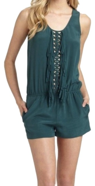 Item - Emerald Green Fringe Front Silk Romper/Jumpsuit