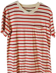 Madewell short dress white, red Striped T-shirt on Tradesy