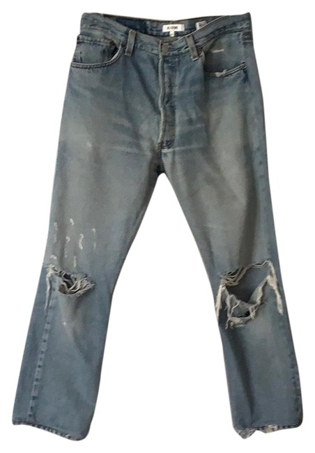Item - Blue Distressed Levy's High Rise Crop Straight Leg Jeans Size 8 (M, 29, 30)