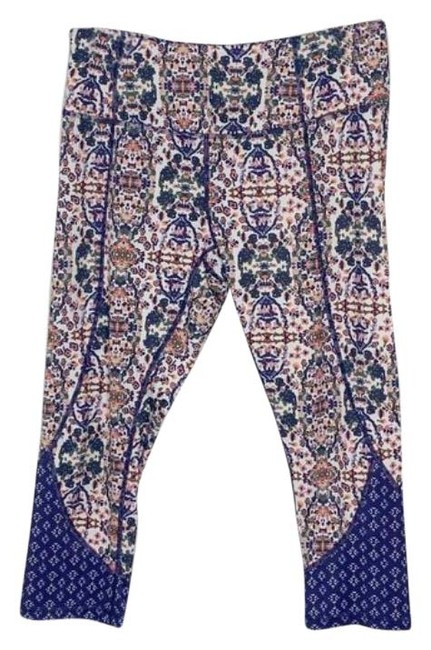 Apana Blue Purple Patterned Crop Leggings Size 8 (M, 29, 30) Apana Blue Purple Patterned Crop Leggings Size 8 (M, 29, 30) Image 1