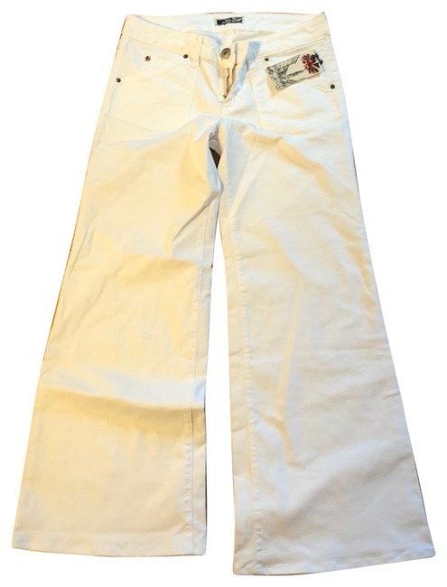 Item - White Light Wash Trouser/Wide Leg Jeans Size 8 (M, 29, 30)