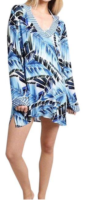 Item - Blue Swimwear Leaf Two Cool Tunic Cover-up/Sarong Size 8 (M)