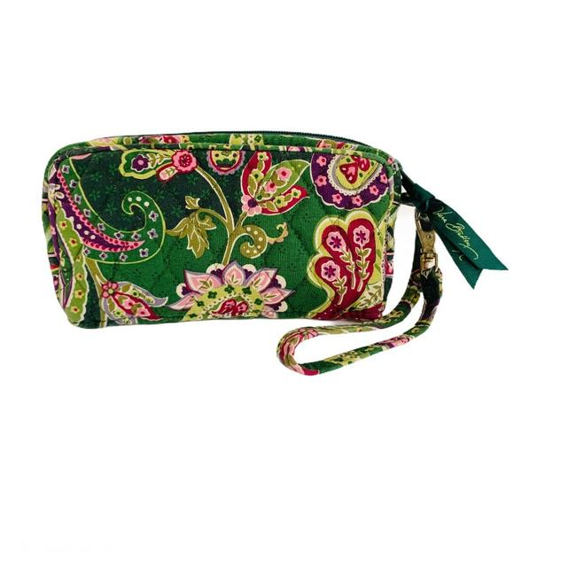 Item - Paisley Wallet Green & Pink Quilted Cotton Wristlet