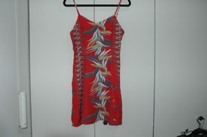 Kamehameha short dress Hawaiian Print Red Beach Summer Vintage on Tradesy
