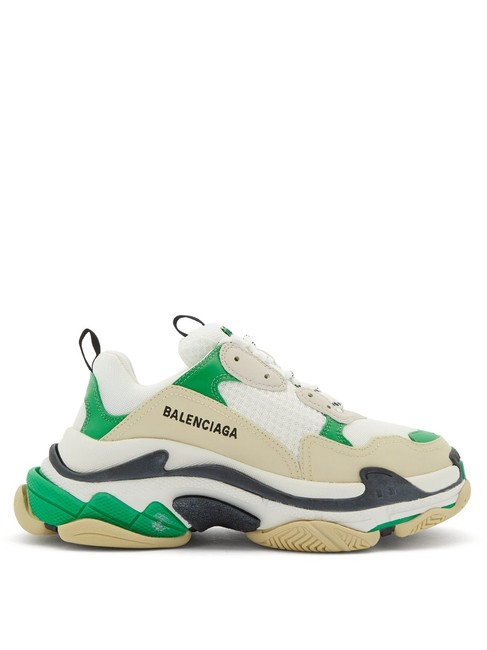 Item - Green Mf Triple S Leather and Mesh Trainers Sneakers Size EU 38 (Approx. US 8) Regular (M, B)