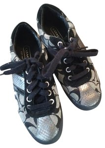 Coach Black, White and Silver Flats