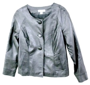 Coldwater Creek Metallic Gunmetal Faux Leather Grey Jacket