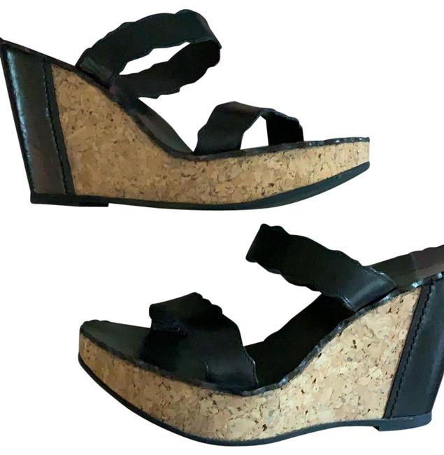Laura Bellariva Black Leather with Cork Heel 9 M Wedges Size EU 40 (Approx. US 10) Regular (M, B) Laura Bellariva Black Leather with Cork Heel 9 M Wedges Size EU 40 (Approx. US 10) Regular (M, B) Image 1