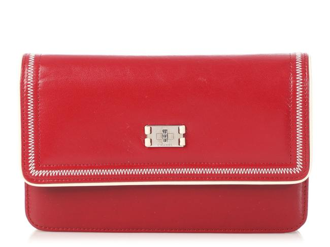 Item - Wallet on Chain Woc Distressed Red Leather Cross Body Bag