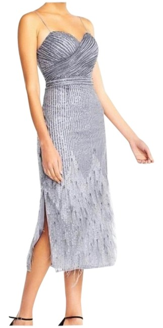 Item - Gray Silver Feather Sequins Mid-length Cocktail Dress Size 4 (S)