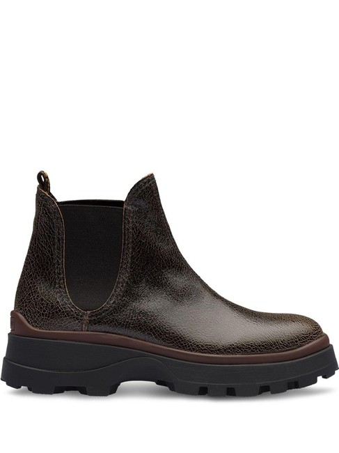 Item - Brown Black Chelsea Cracked Leather Boots/Booties Size EU 38.5 (Approx. US 8.5) Regular (M, B)