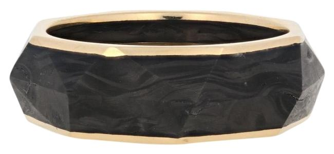 Item - Yellow New Torqued Faceted Forged Carbon Band 18k Gold Ring
