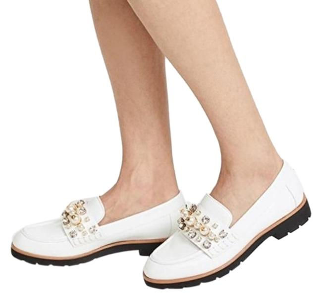 Item - White Pearl Embellished Leather Loafers Platforms Size EU 36 (Approx. US 6) Regular (M, B)