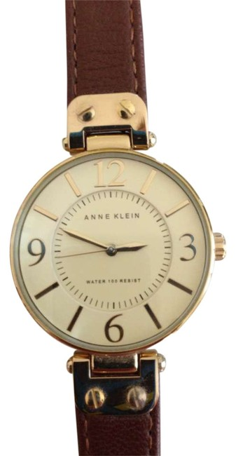 Item - Yellow Gold W/Brown Leather Watch