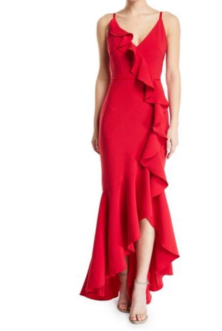 Marchesa Notte Red V-neck Crepe Ruffle Long Formal Dress Size 8 (M) Marchesa Notte Red V-neck Crepe Ruffle Long Formal Dress Size 8 (M) Image 1