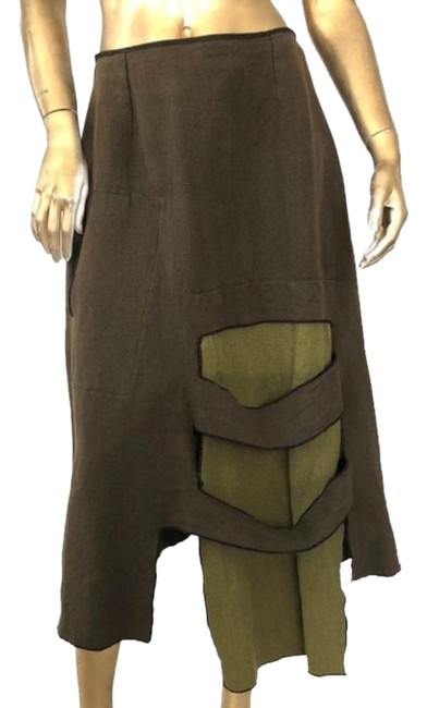 Item - Green Brown Artsy Linen/Cotton Aline Skirt Size 2 (XS, 26)