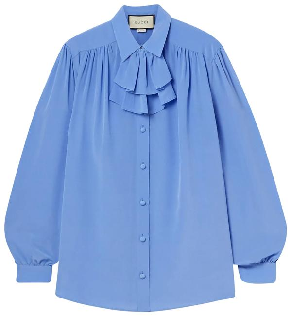 Item - Ruffled Silk Crepe De Chine Shirt It40 Blouse Size 2 (XS)