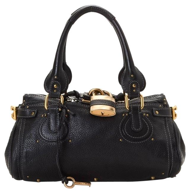 Chloé Paddington Handbag Black Leather Satchel Chloé Paddington Handbag Black Leather Satchel Image 1
