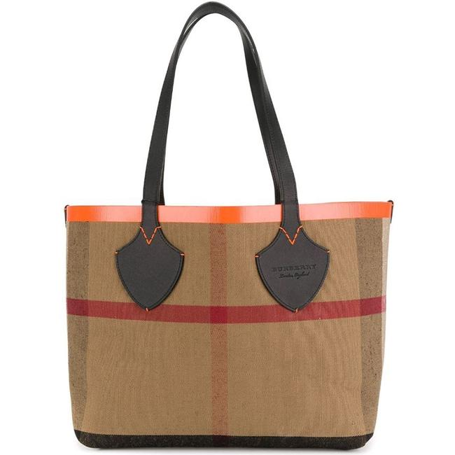 Burberry Reversible Women's Medium Giant In Canvas and Or Orange/Black Leather Tote Burberry Reversible Women's Medium Giant In Canvas and Or Orange/Black Leather Tote Image 1