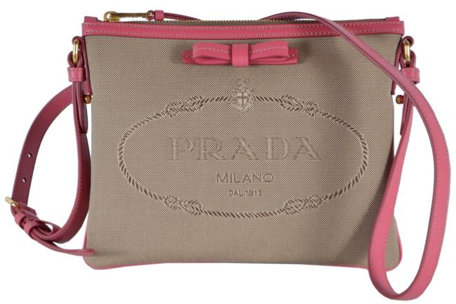 Prada Clutch New 1bh050 Bandoliera Logo Jacquard Purse Brown Canvas and Leather Cross Body Bag Prada Clutch New 1bh050 Bandoliera Logo Jacquard Purse Brown Canvas and Leather Cross Body Bag Image 1