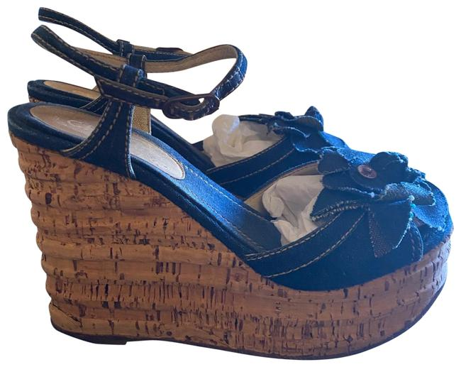 Item - Blue Camellia Denim Wedges Sandals Size US 7.5 Regular (M, B)