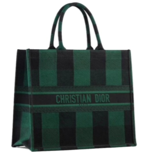 Preload https://img-static.tradesy.com/item/27751514/dior-christian-embroidered-logo-book-sold-out-everywhere-green-black-check-canvas-tote-0-0-540-540.jpg