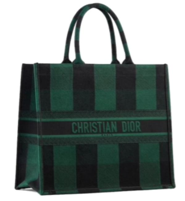 Dior Christian Embroidered Logo Book Sold Out Everywhere Green / Black Check Canvas Tote Dior Christian Embroidered Logo Book Sold Out Everywhere Green / Black Check Canvas Tote Image 1