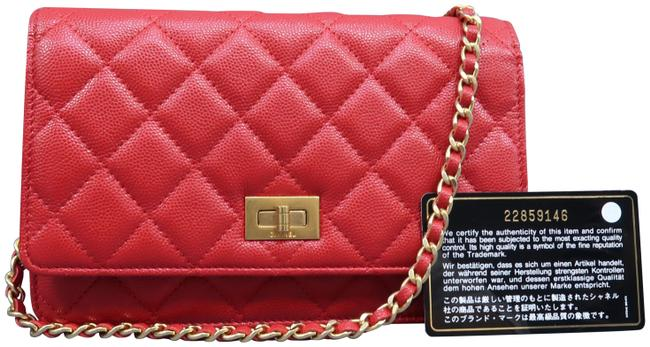 Chanel Chain Wallet on Red Caviar Shoulder Bag Chanel Chain Wallet on Red Caviar Shoulder Bag Image 1