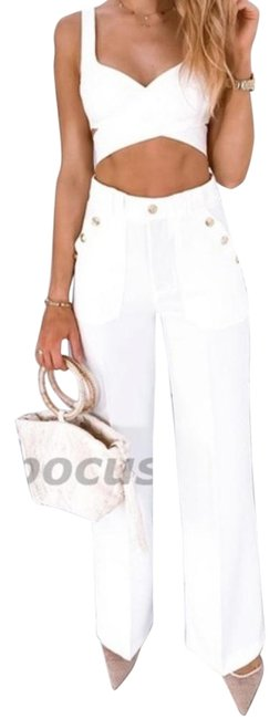 Item - White High Rise Gold Buttoned Trousers Pants Size 20 (Plus 1x)