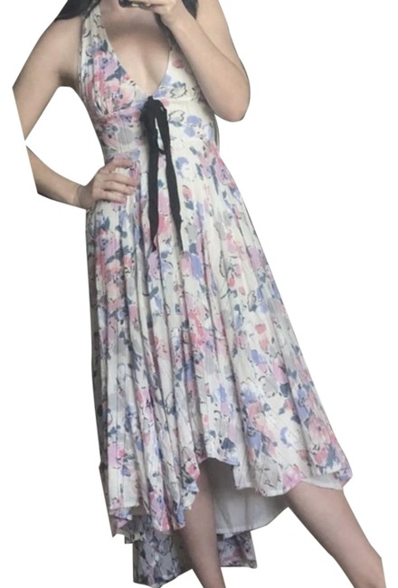 Free People White & Pink Floral Halter High Low Mid-length Casual Maxi Dress Size 2 (XS) Free People White & Pink Floral Halter High Low Mid-length Casual Maxi Dress Size 2 (XS) Image 1