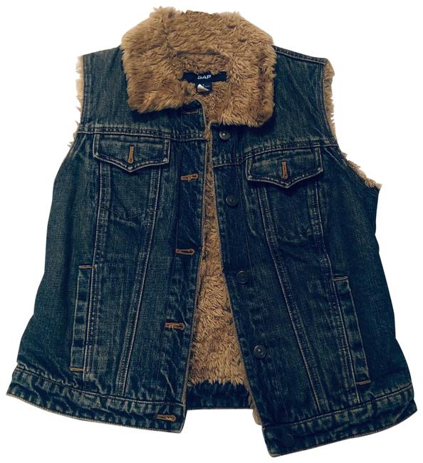 Item - Blue Faux Fur Lined Denim Vest Size 4 (S)