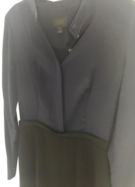 Item - Navy Blue and Black Collection Silk Ensemble Short Work/Office Dress Size 4 (S)