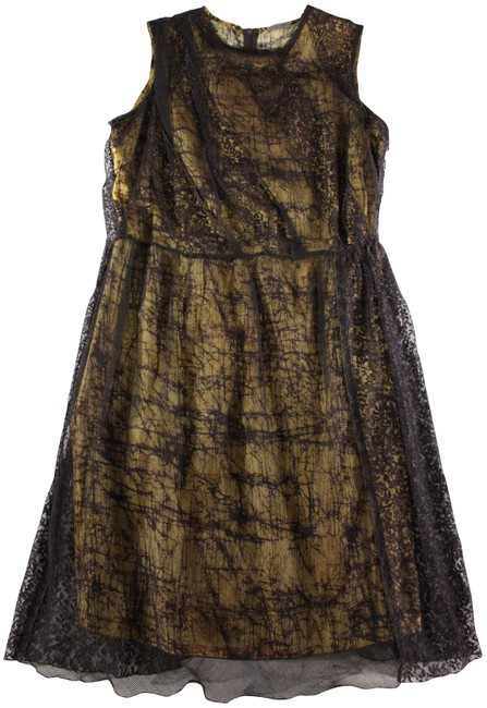 """Item - Deep Brown/Gold """"Abstract Lace Overlay"""" Sleeveless Cocktail Dress Size 8 (M)"""