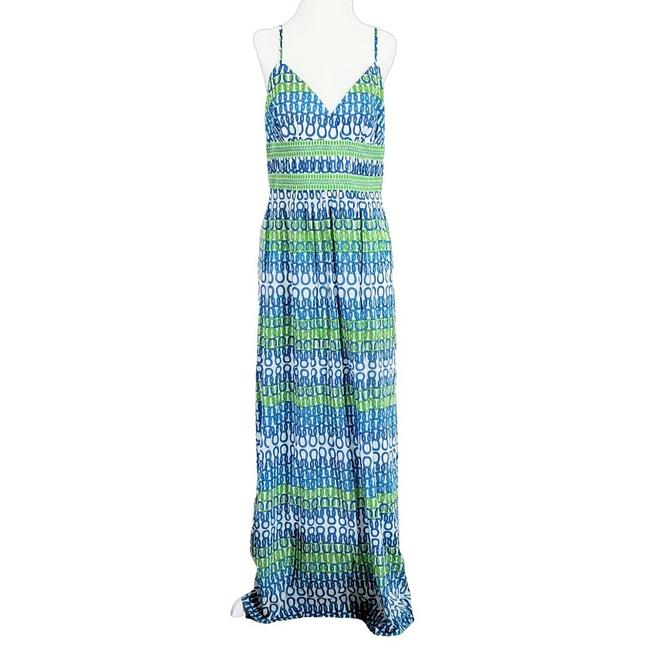 Item - White Blue Green Silk with Tie Knot Pattern Long Casual Maxi Dress Size 10 (M)