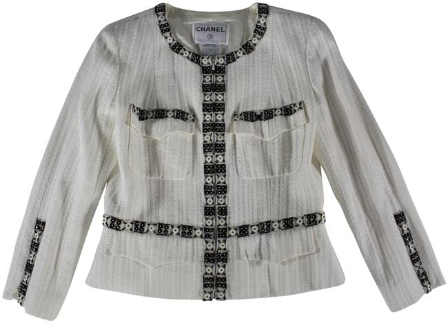 "Item - White Textured Cotton/Linen Beaded ""Button Trim"" Cropped Jacket Size 8 (M)"