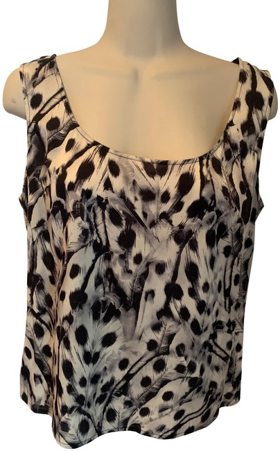 Item - Black Grey and Cream Feather Print Silk Blouse Tank Top/Cami Size 8 (M)