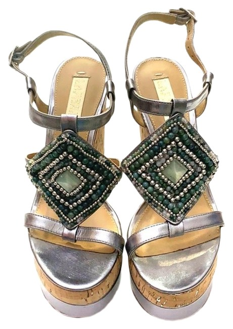 Item - Silver and Tan Wedges Size US 7 Regular (M, B)